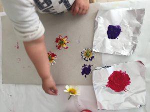 pintando con flores