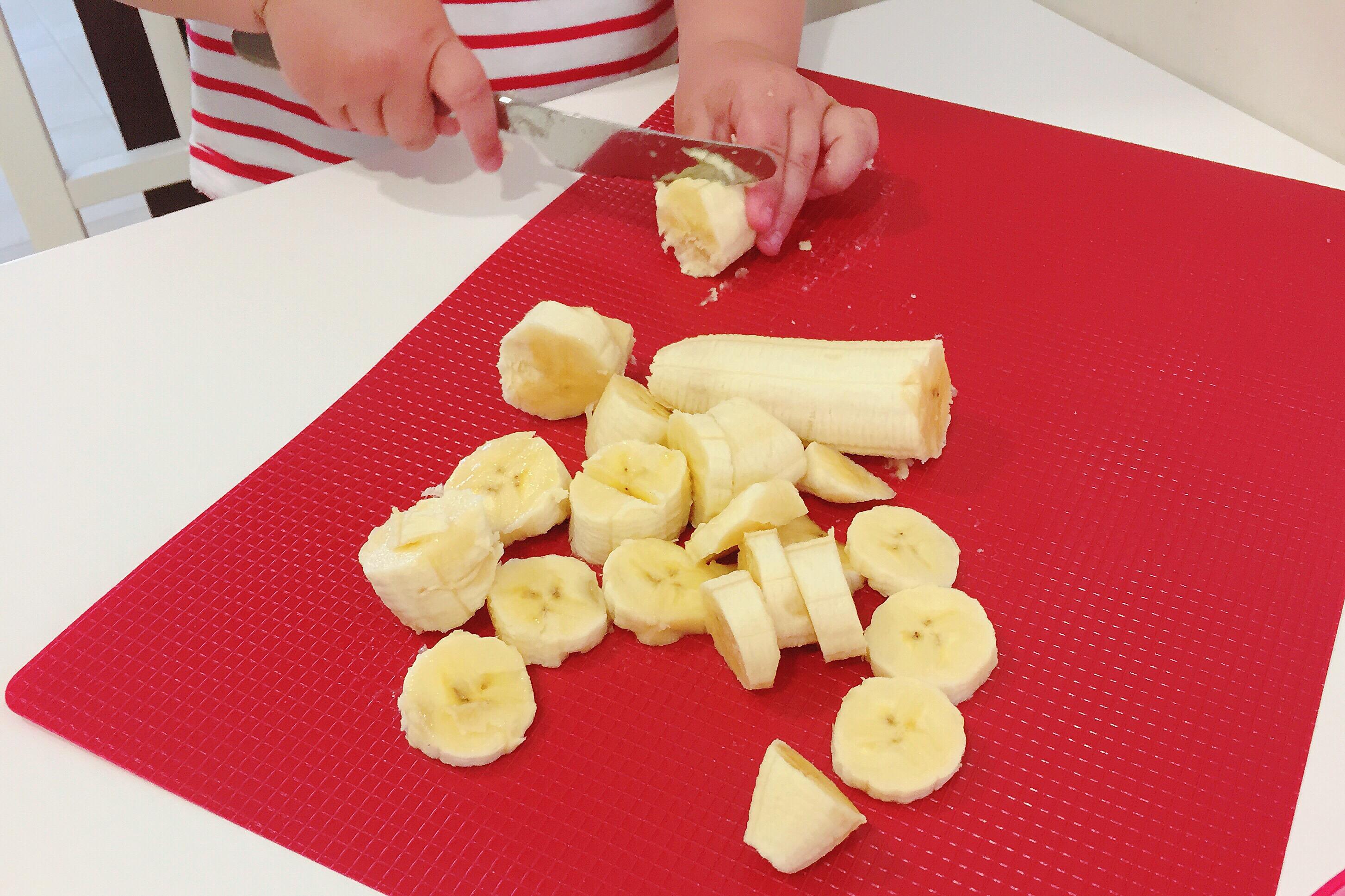 cocinar con niños, helado de plátano
