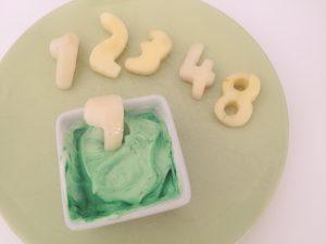 números de fruta, manzana con formas