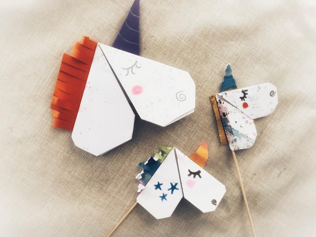 unicornio origami para niños
