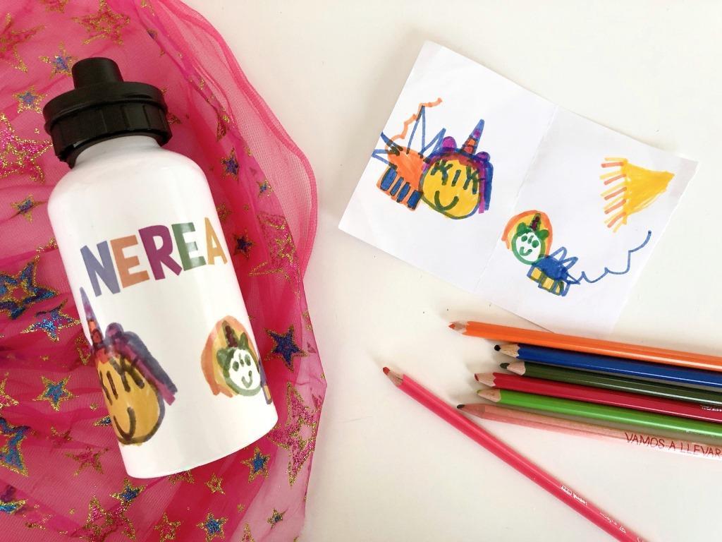 botella aluminio infantil con dibujo personalizado