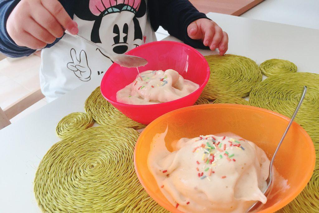 helado facil de platano